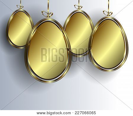 Eggs With A Gold Color Band On A White Background, Set