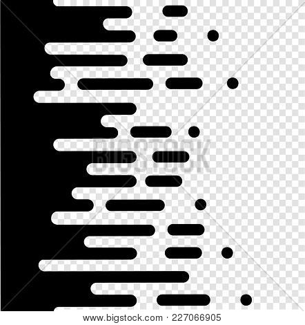 Vector Halftone Transition Abstract Wallpaper Pattern. Seamless Black And White Irregular Rounded Li
