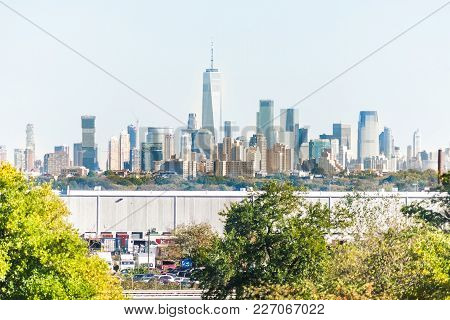 Elizabeth, Usa - October 27, 2017: Industrial Factory Truck Shipping Complex In New Jersey With City