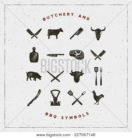 Set Of Butchery And Barbecue Symbols With Letterpress Effect. Hand Drawn Design Elements. Vector Ill