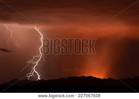 Lightning Striking The Buckeye Foothills In Arizona During The 2011 Monsoon Season.
