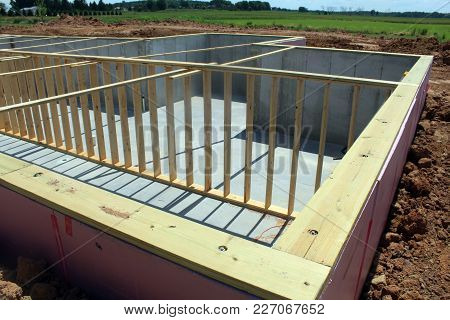 Basement Poured Foundation Ready For A New House