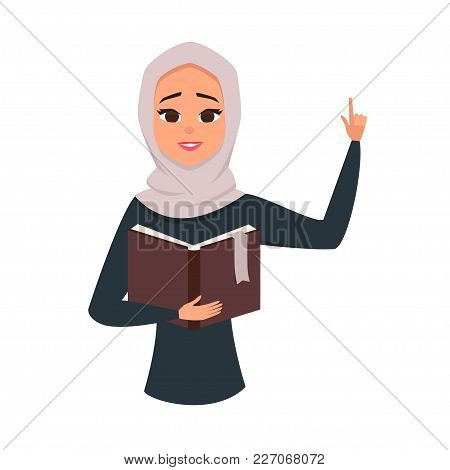 Vector Portrait Of Cute Brunette Arab Woman Reading Book.student Learning Illustration. Arab Girl Wi