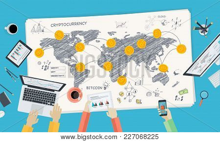 Bitcoin Market. Flat Design Style Web Banner Of Blockchain Technology, Bitcoin, Altcoins, Cryptocurr