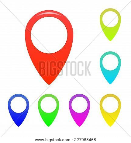 Map Marker, Map Pin Vector. Map Markers With Circles With Blank Space. Vector Illustration.