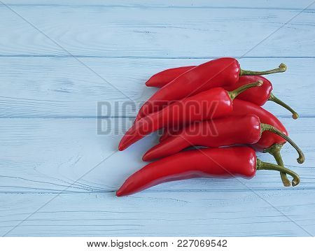 Red Pepper On Blue Wooden Copy Space, Macro Photography, Wood, Border