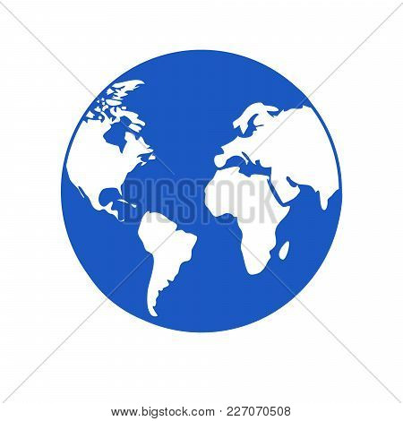Planet Earth World Icon Blue Globe With White Continents Simple Flat Circular Vector Icon