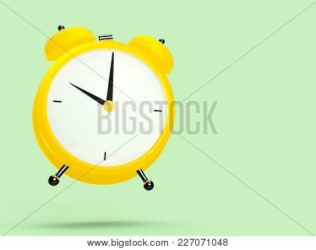 Closeup view of colorful alarm clock on light green background. 10 O'Clock, am or pm. 3D rendering