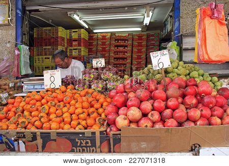 Jerusalem, Israel - December 1, 2017: Man Is Selling Fruits At Machane Yehuda Market In Jerusalem, I
