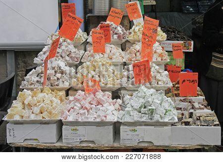 Jerusalem, Israel - December 1, 2017: Stall With Turkish Delights At Machane Yehuda Market In Jerusa