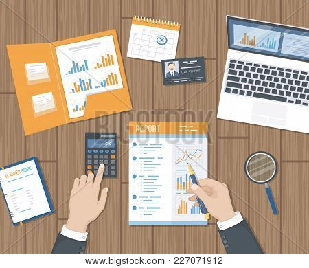 Accounting, Research, Planning, Analysis, Audit, Calculation, Tax. Businessman Hands With Report, Ca
