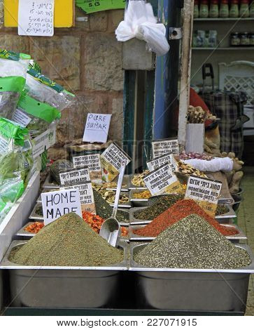 Jerusalem, Israel - December 1, 2017: Stall With Mixtures At Machane Yehuda Market In Jerusalem, Isr
