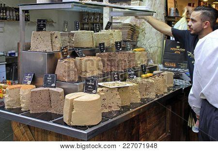 Jerusalem, Israel - December 1, 2017: Man Is Selling Halva At Machane Yehuda Market In Jerusalem, Is