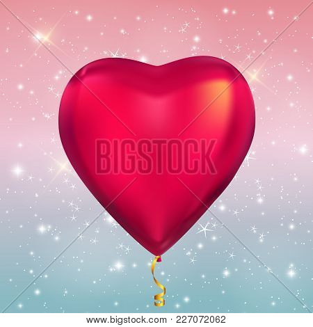 Heart Shape Colour Glossy Helium Balloons On Glossy Sky  Background. Vector Illustration Eps10
