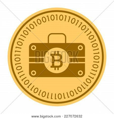 Case Golden Digital Coin Icon. Vector Style Is A Gold Yellow Flat Coin Cryptocurrency Symbol. Eps 10