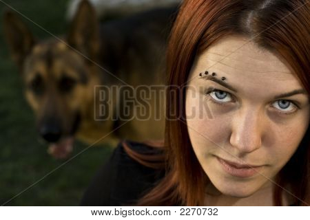 Girl With Her Dog.