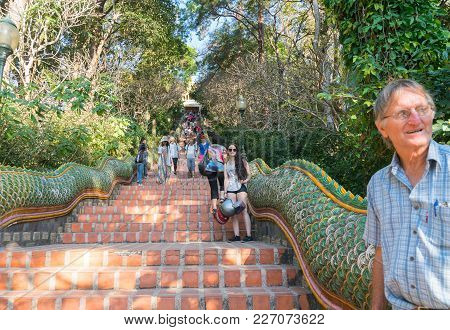 Chiang Mai Thailand - January 29 2018; Tourists Coming And Going On Some Of 300 Steps To Temple Wat