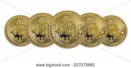 Several Symbolic Golden Coins Of Bitcoin Crypto Currency, New Digital Money In Cyber World, Isolated