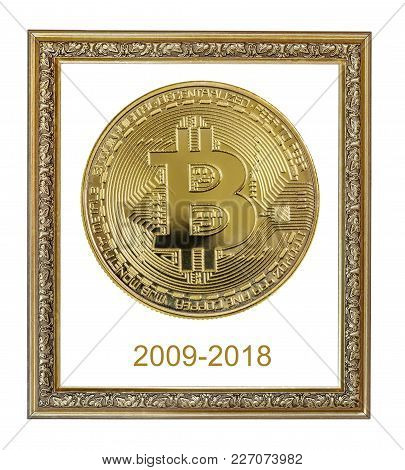 Vintage Ornate Frame With Symbolic Golden Coin Of Bitcoin Crypto Currency, New Digital Money In Cybe