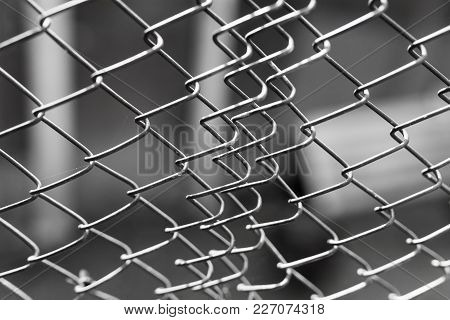 Metal Grid As A Background . Photo Of An Abstract Texture