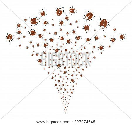 Bug Explosion Fountain. Vector Illustration Style Is Flat Iconic Symbols. Object Fountain Created Fr