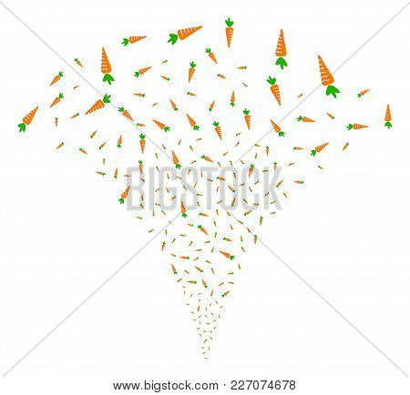 Carrot Explosion Fountain. Vector Illustration Style Is Flat Iconic Symbols. Object Fountain Constru