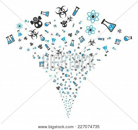 Chemistry Symbols Explosion Fountain. Vector Illustration Style Is Flat Iconic Symbols. Object Fount
