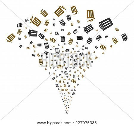 Dustbin Fireworks Fountain. Vector Illustration Style Is Flat Iconic Symbols. Object Fountain Done F