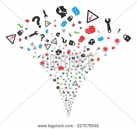 Secrecy Symbols Exploding Fountain. Vector Illustration Style Is Flat Iconic Symbols. Object Fountai