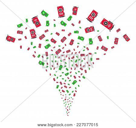 Video Card Gpu Exploding Fountain. Vector Illustration Style Is Flat Iconic Symbols. Object Fountain