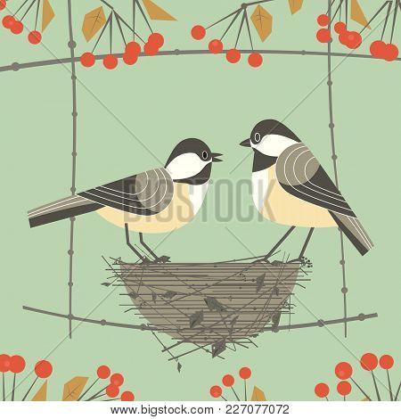 Chickadee Bird Couple. Cute Comic Cartoon. Birds Sitting In Straw Nest. Minimalism Simplicity Wildli