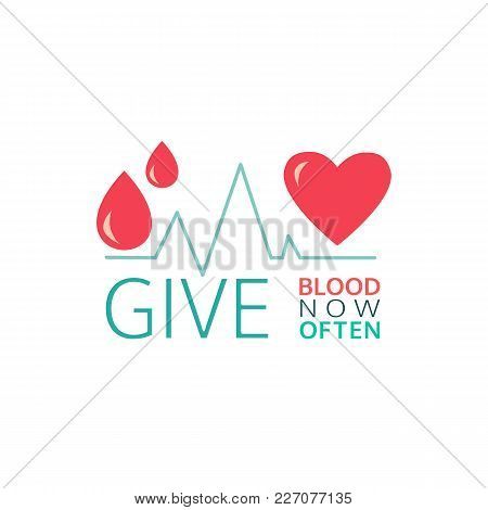 Donate Blood Icon. Simple Line Style. Safe Life Concept. Blood Transfusion Poster Graphic Element. D