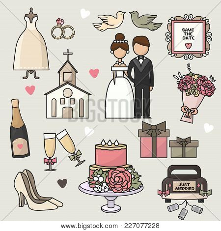 Vector Illustration. Set Of Cartoon Doodle Wedding Icons. Collection Of Romantic Symbols.