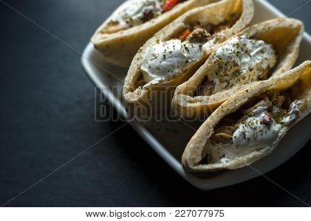 Stuffed Tortilla Stuffed With Chicken And Vegetables. Fajita Horizontal