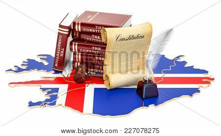 Constitution Of Iceland Concept, 3d Rendering Isolated On White Background