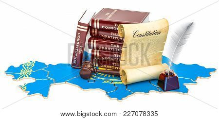 Constitution Of Kazakhstan Concept, 3d Rendering Isolated On White Background