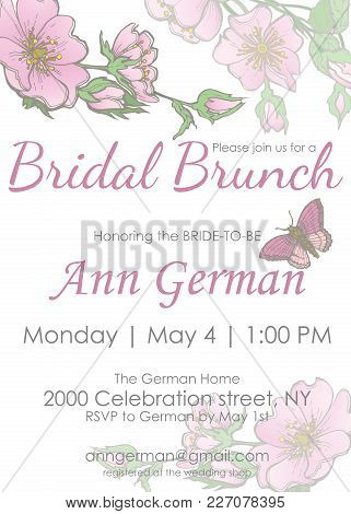Bridal Shower Bridal Brunch Invitation Template With Flowers And Butterfly In Floral Style