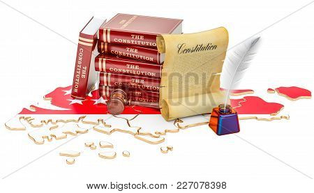 Constitution Of Singapore Concept, 3d Rendering Isolated On White Background