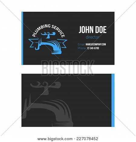 Business Card For Plumbing Service On Dark Background. Vector Design Illustration.