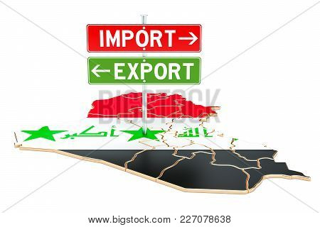 Import And Export In Iraq Concept, 3d Rendering Isolated On White Background