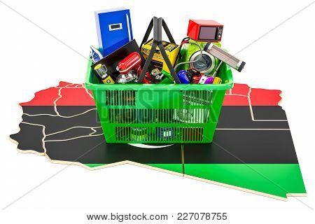 Map Of Libya With Shopping Basket Full Of Home And Kitchen Appliances, 3d Rendering