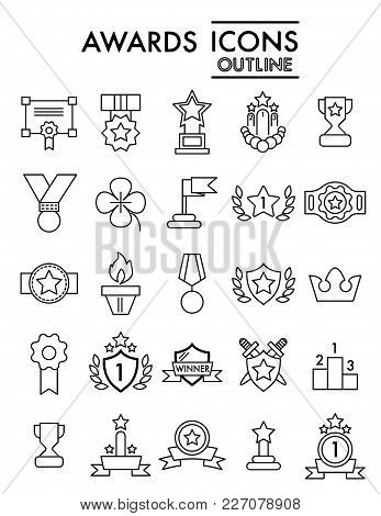 Set Of Winning, Awards Vector Line Simple Icons. Contains Such Icons As Laurel Branch, Reward, Achie