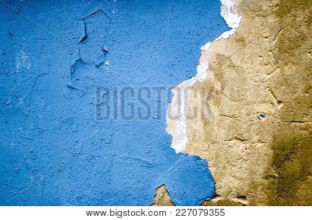 Blue Concrete Wall Grunge Texture With Cracks.