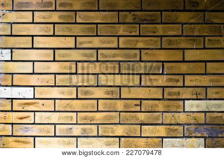 Brick Yellow Wall Backgraund. Vintage And Old Surface