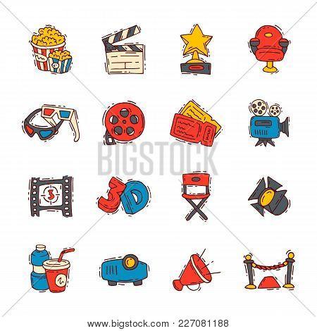 Movie Cinema Icons Vector Moviemaking Creator Hand Drawn Sketch Style Iconic Symbols Premiere Cinema