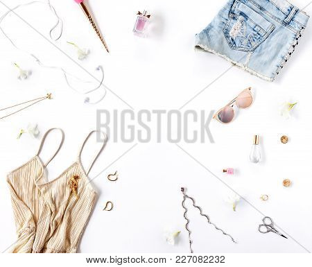 Women's Fashion Clothes And Accessories Isolated On White Background. Flat Lay, Top View. Beauty Blo
