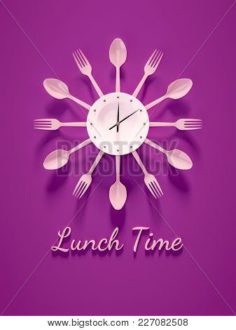 3d illustration of a purple cutlery clock for lunch time