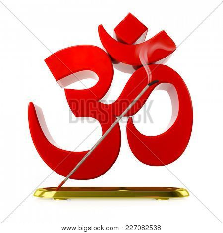 3d illustration of a incense stick with red om sign