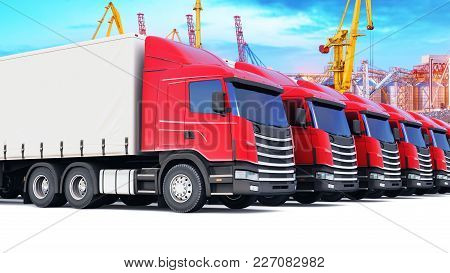 3d Render Illustration Of The Row Of Cargo Trailer Trucks At The Sea Port Freight Terminal With Cran