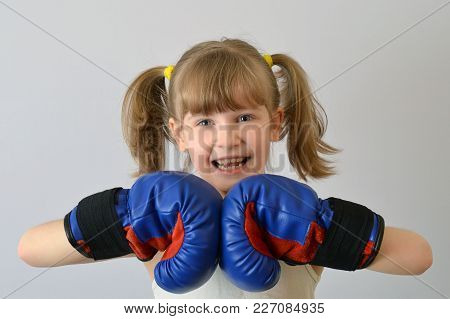 Kid Boxer Celebrates Victory In The Competition.